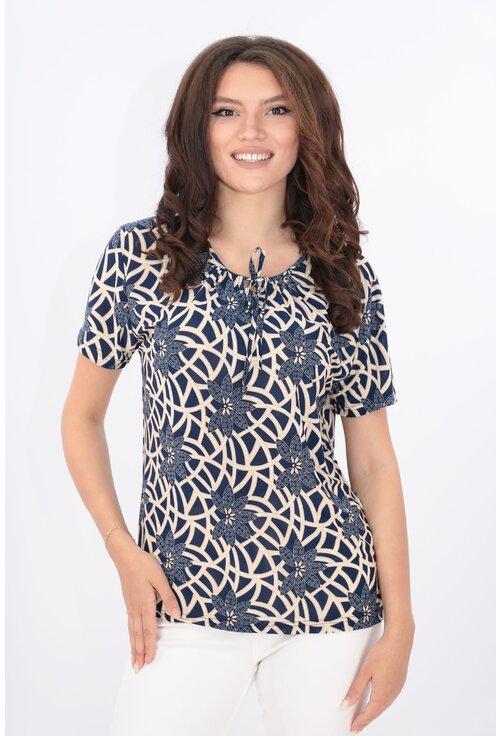 Bluza bleumarin cu print abstract bej