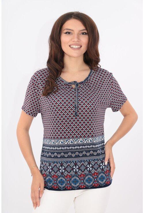 Bluza bleumarin cu print abstract rosu si bordura