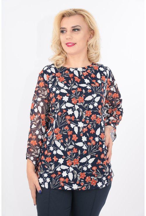 Bluza bleumarin cu print floral caramiziu