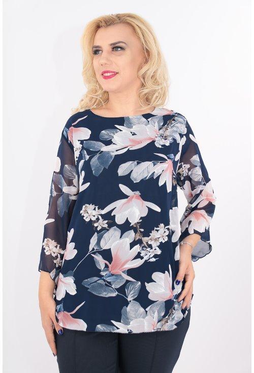 Bluza bleumarin cu print floral