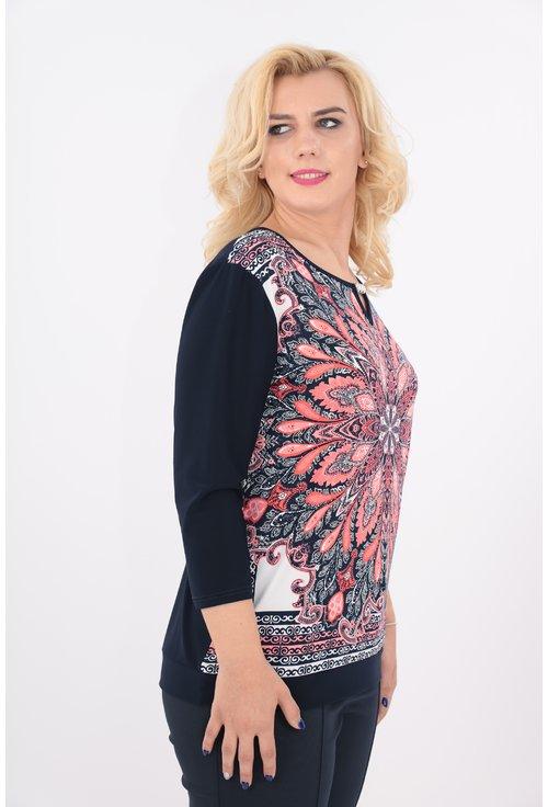 Bluza bleumarin cu print floral rosu