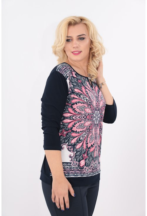 Bluza bleumarin cu print floral roz