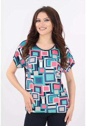 Bluza bleumarin cu print multicolor roz