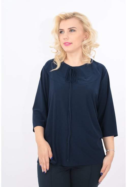 Bluza bleumarin cu volane