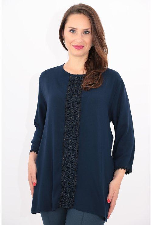 Bluza bleumarin din bumbac cu perle