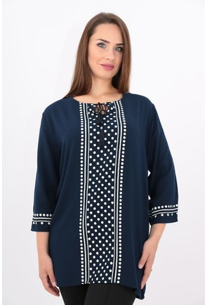 Bluza bleumarin din vascoza cu buline