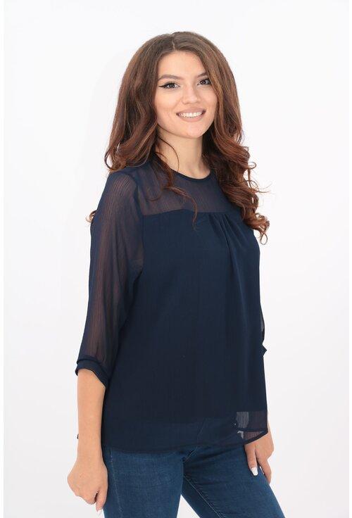 Bluza bleumarin din voal creponat