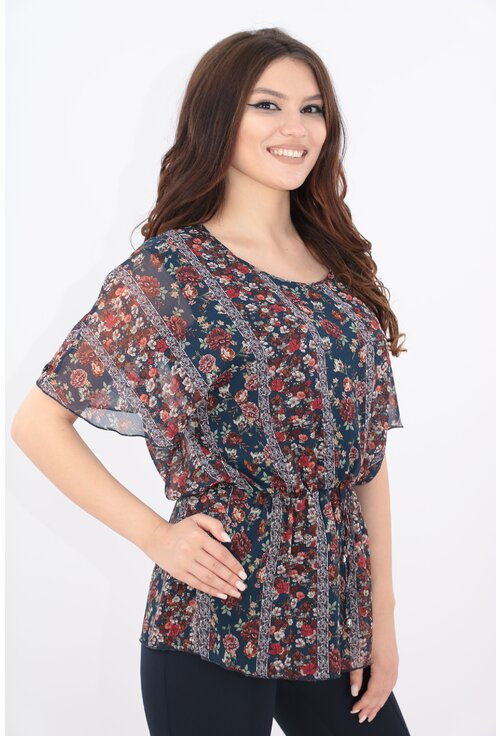 Bluza bleumarin din voal cu flori bordo