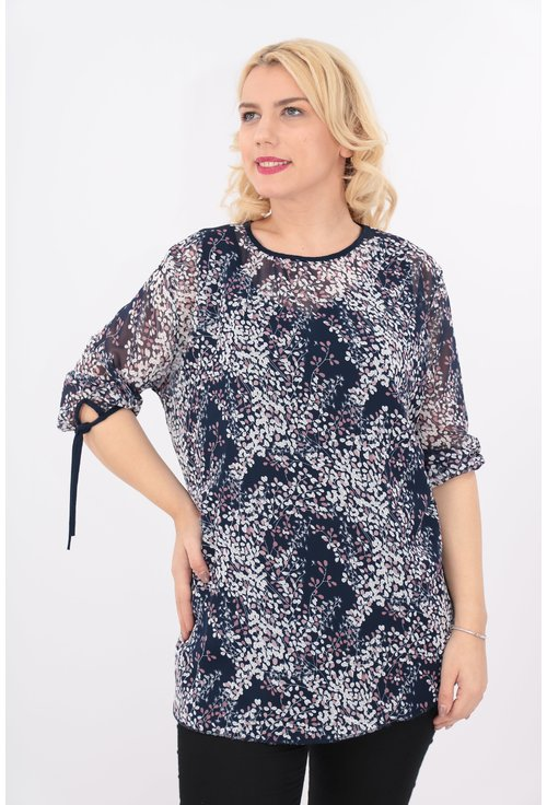 Bluza bleumarin din voal cu print floral