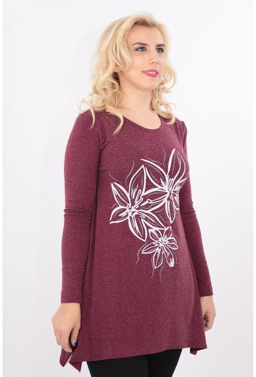 Bluza bordo cu desen floral