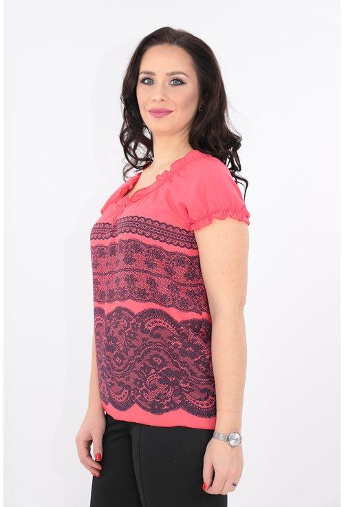 Bluza corai cu print floral