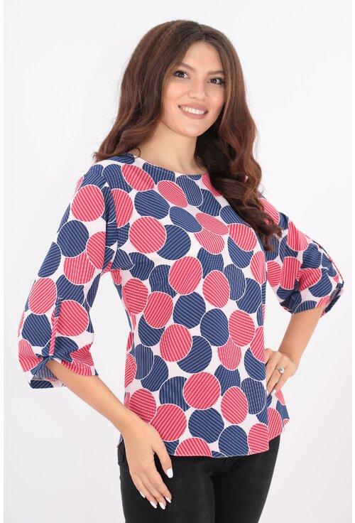 Bluza cu buline maxi bleumarin-rosii