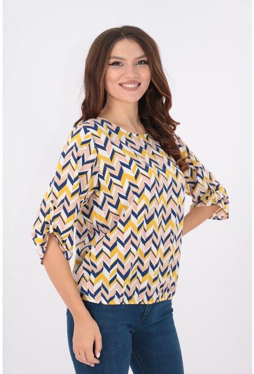 Bluza cu desen geometric bleumarin si mustar