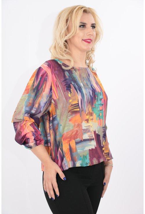 Bluza cu imprimeu abstract multicolor