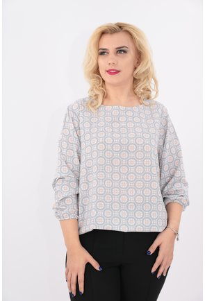 Bluza cu imprimeu geometric gri