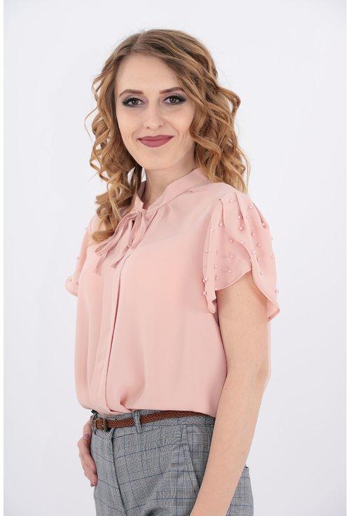 Bluza cu perle roz