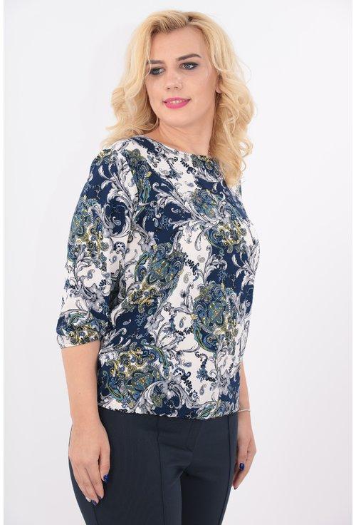 Bluza cu print floral albastru