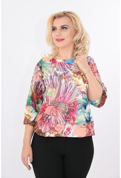Bluza cu print floral multicolor
