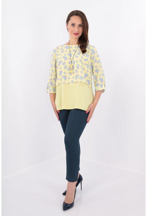 Bluza cu print geometric galben