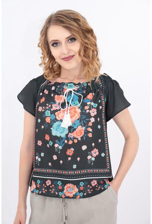 Bluza cu umeri goi si print floral