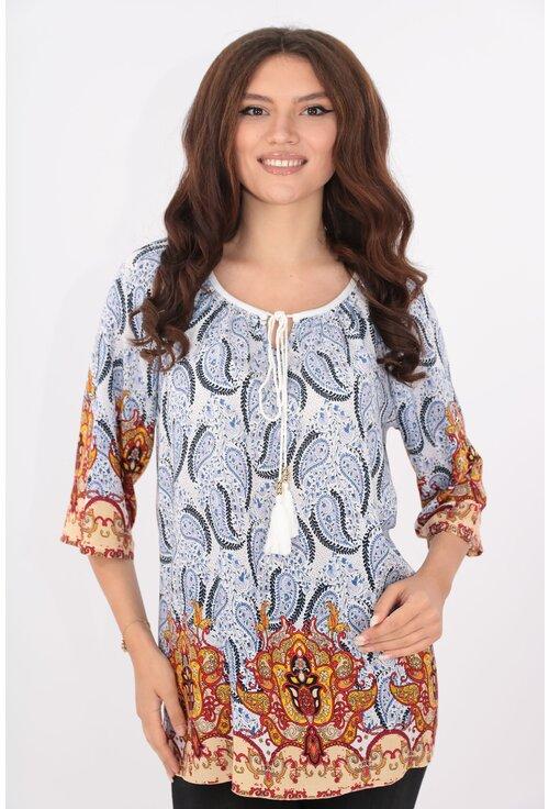 Bluza din bumbac bleu cu print floral rosu-mustar