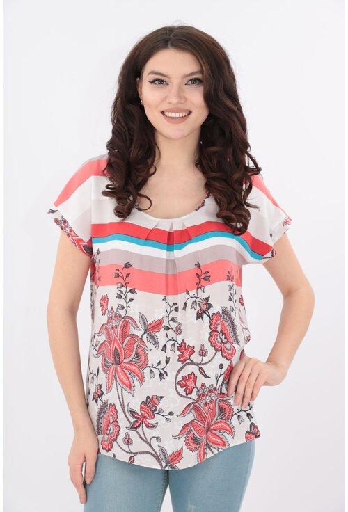 Bluza din bumbac cu print maxi corai