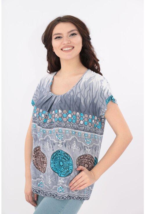Bluza din bumbac gri cu print bordurat