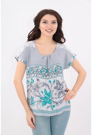 Bluza din bumbac gri cu print maxi turcoaz