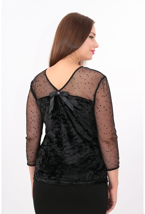 Bluza din catifea neagra cu broderie florala