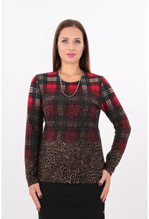 Bluza din jerse cu carouri rosii si bordura
