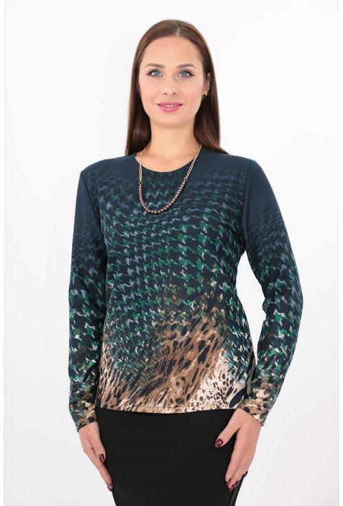 Bluza din jerse cu imprimeu bleumarin si verde