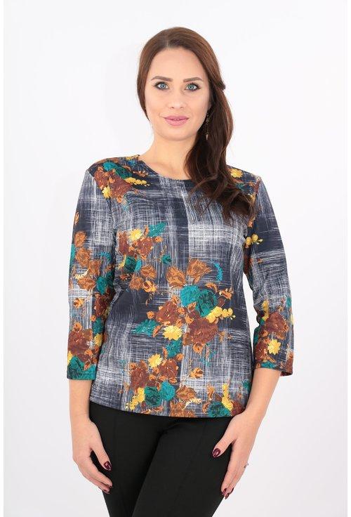 Bluza din jerse cu imprimeu cu flori galbene