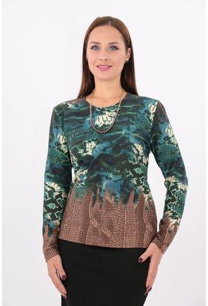 Bluza din jerse cu imprimeu verde si bordura maro