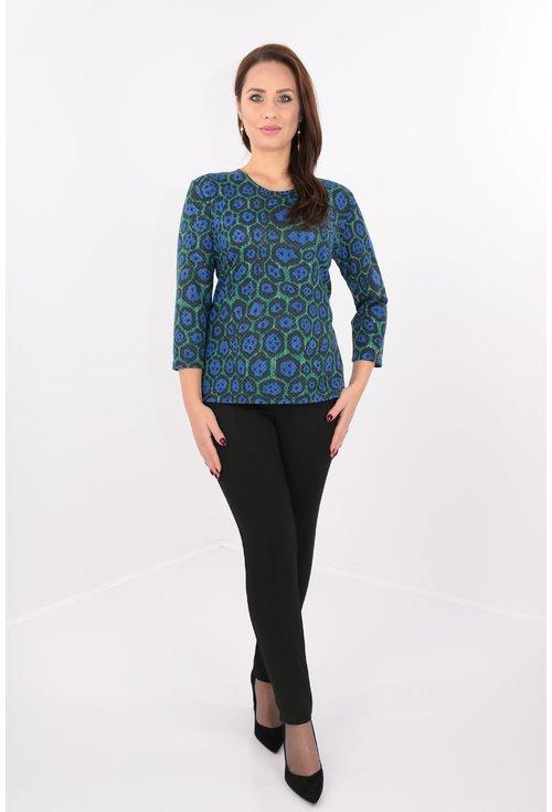 Bluza din jerse cu print cu buline albastre