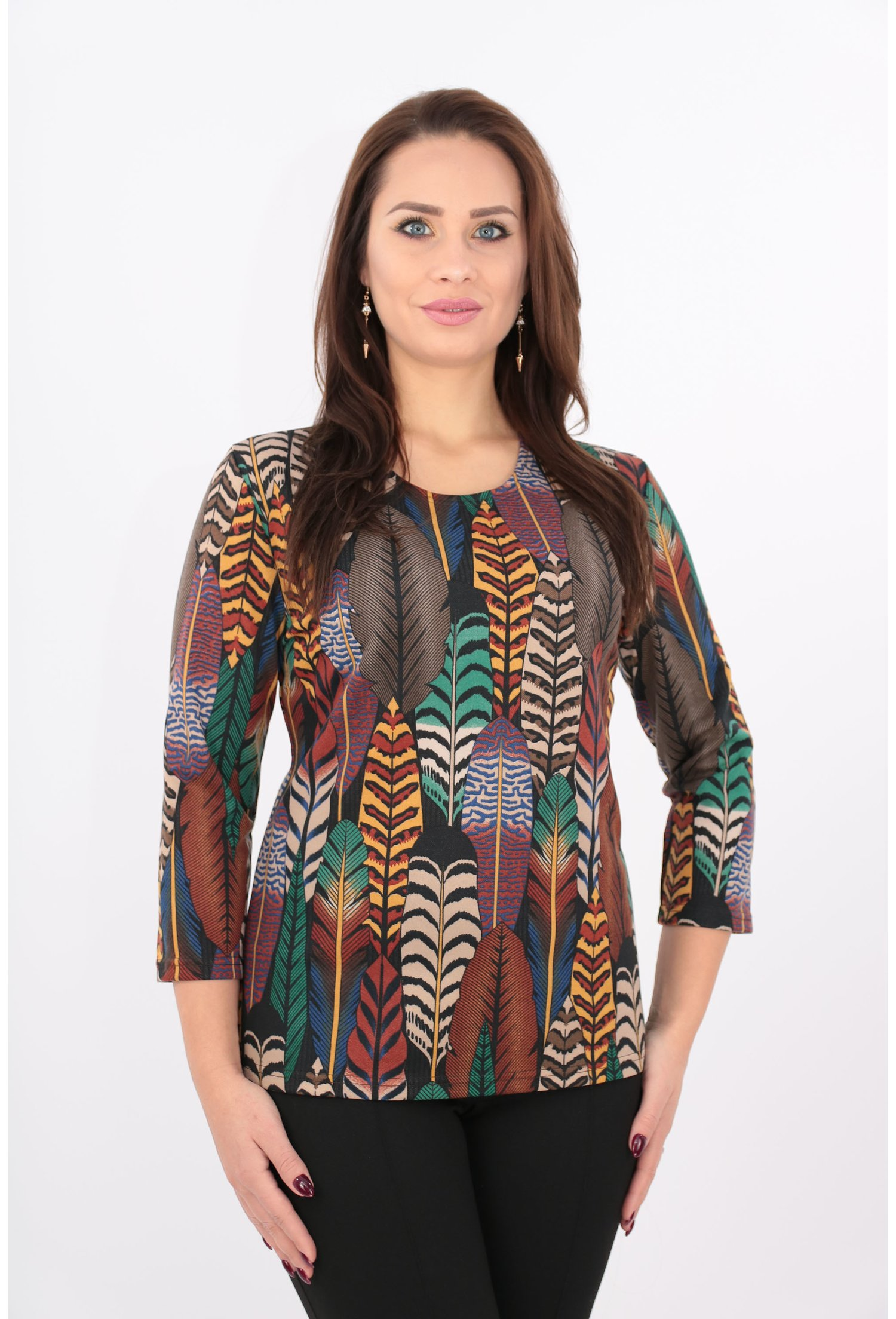 Imagine Bluza Din Jerse Cu Print Frunze Multicolore
