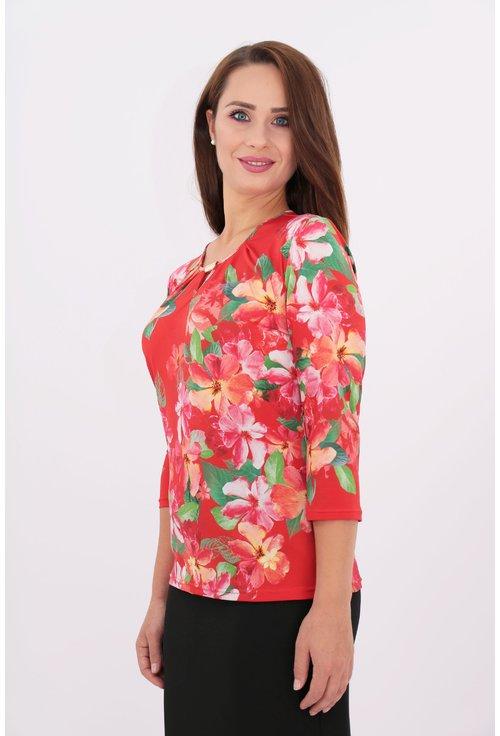 Bluza din jerse rosu cu print floral multicolor