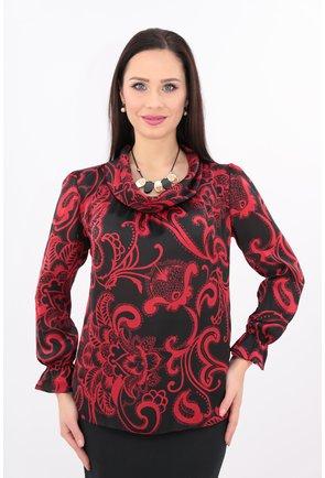 Bluza din matase cu imprimeu rosu cu negru