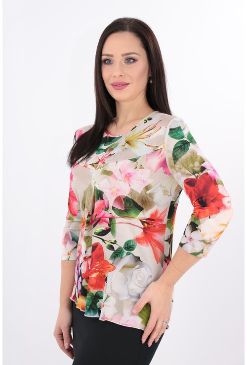 Bluza din vascoza alba cu print floral