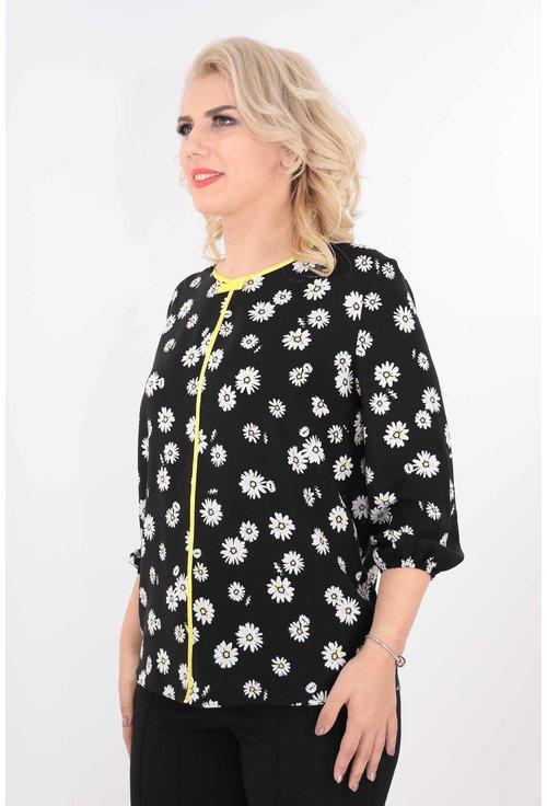 Bluza din vascoza neagra cu margarete albe