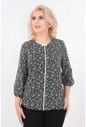 Bluza din vascoza neagra cu print floral bej