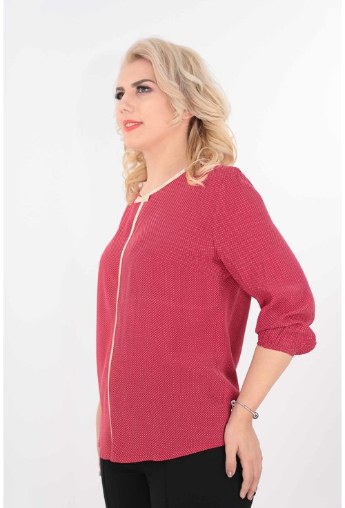 Bluza din vascoza rosie cu buline mici crem