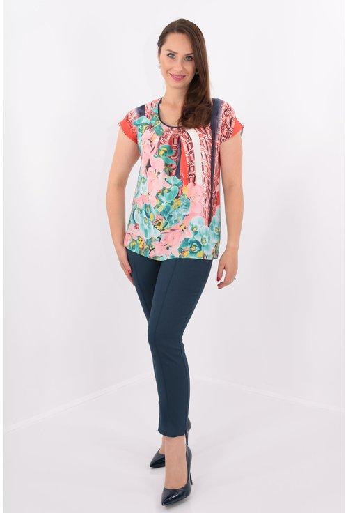 Bluza din voal cu print floral multicolor