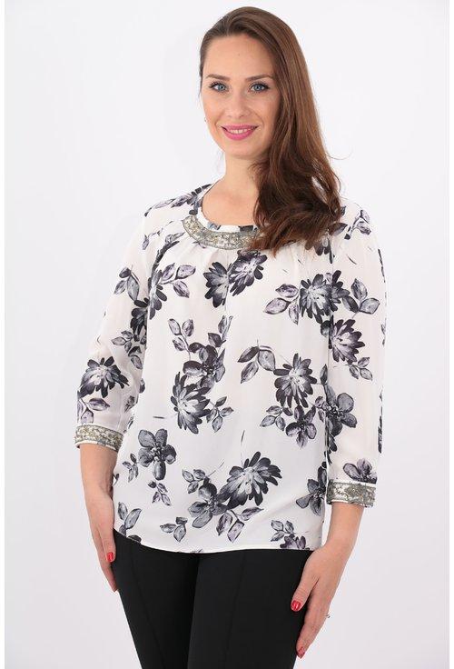 Bluza alba din voal cu print floral