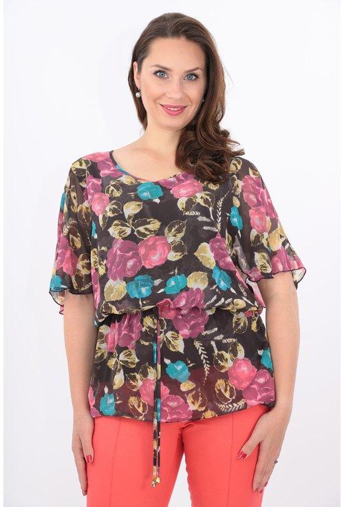 Bluza din voal maro cu print floral