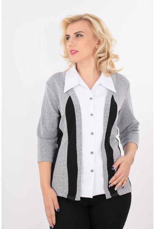Bluza gri cu aspect de sacou