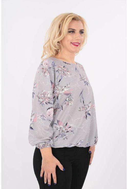 Bluza gri cu imprimeu floral discret