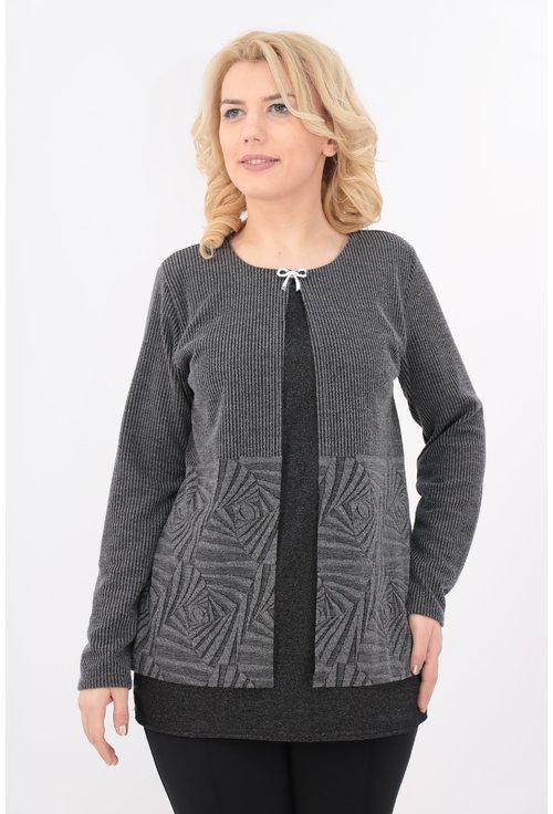 Bluza gri cu negru cu aspect suprapus