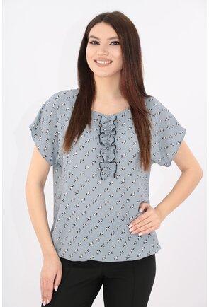 Bluza gri din crep cu imprimeu discret