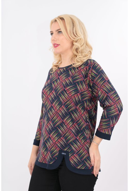 Bluza in carouri multicolore