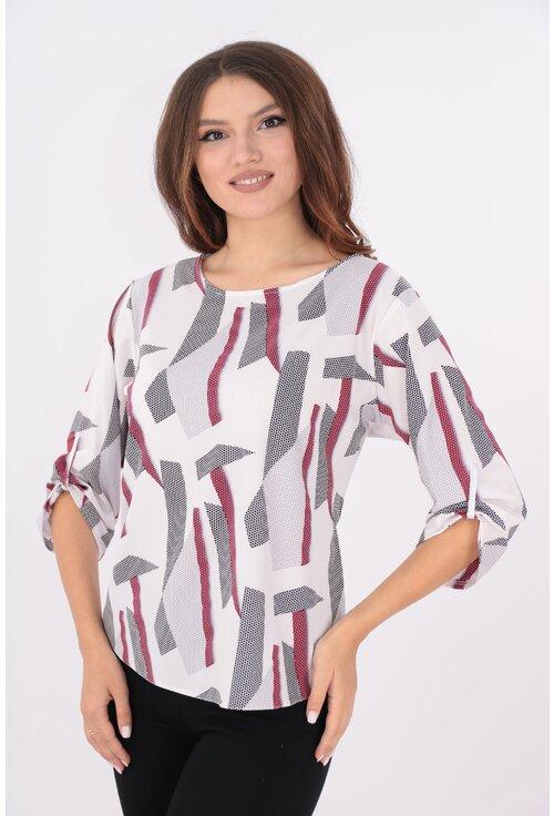 Bluza lejera alba cu desen geometric bordo si negru